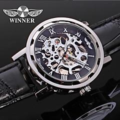 preiswerte Tolle Angebote auf Uhren-WINNER Herrn Armbanduhr / Mechanische Uhr Transparentes Ziffernblatt Leder Band Luxus / Freizeit Schwarz / Automatikaufzug