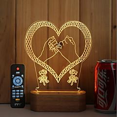 お買い得  USB ライト-1セット 3Dナイトライト 温白色 リモコン 調光可能 変色 5V アーティスティック LED コンテンポラリー