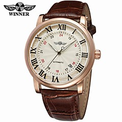 voordelige Herenhorloges-WINNER Heren Modieus horloge Dress horloge Polshorloge Automatisch opwindmechanisme Kalender Leer Band Vintage Informeel Cool Zwart Bruin