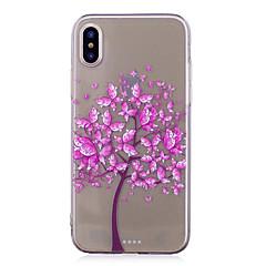 Недорогие Кейсы для iPhone 6-Кейс для Назначение Apple iPhone X iPhone 8 IMD Прозрачный С узором Кейс на заднюю панель Бабочка дерево Мягкий ТПУ для iPhone X iPhone 8