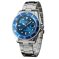お買い得  大特価腕時計-WINNER 男性用 リストウォッチ 自動巻き 30 m カレンダー ステンレス バンド ハンズ ヴィンテージ カジュアル ファッション シルバー - ホワイト グリーン ブルー