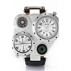 Męskie Japoński Kwarcowy Wodoszczelny Termometr Kompas Srebrzysty Skóra Pasmo Na co dzień