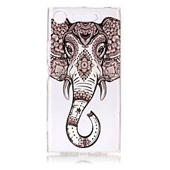 billige Etuier til Sony-Etui Til Sony Xperia XZ1 Xperia XA1 Ultratyndt Transparent Præget Mønster Bagcover Elefant Blødt TPU for Sony Xperia XZ1 Sony Xperia XA1