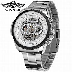 お買い得  大特価腕時計-WINNER 男性用 リストウォッチ / 機械式時計 透かし加工 / クール ステンレス バンド ぜいたく / ヴィンテージ / カジュアル シルバー / 自動巻き