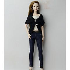 billiga Barbiekläder-Underdelar Cowboy Toppar Topp Shorts & Byxor & Leggings För Barbiedocka Svart+vit Ulltyg Jeans Topp Byxor Korsett För Flicka Dockleksak