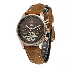 preiswerte Tolle Angebote auf Uhren-FORSINING Damen Armbanduhr Automatikaufzug 30 m Armbanduhren für den Alltag Cool Echtes Leder Band Analog Freizeit Modisch Schwarz - Weiß Schwarz Kaffee / Edelstahl