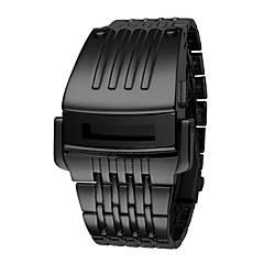 お買い得  メンズ腕時計-男性用 デジタルウォッチ デジタル 耐水 カレンダー クロノグラフ付き バンド デジタル ぜいたく カジュアル ファッション ブラック / シルバー - ブラック シルバー 1年間 電池寿命 / ステンレス / 光る / LCD / ムーンフェイズ