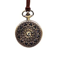 preiswerte Herrenuhren-Damen Taschenuhr Chinesisch Armbanduhren für den Alltag / Großes Ziffernblatt Leder Band Blume / Retro Braun / Ein Jahr