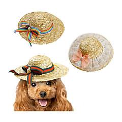 お買い得  犬用ウェア&アクセサリー-ネコ 犬 バンダナ&帽子 犬用ウェア 蝶結び グリーン ピンク 虹色 その他の材料 コスチューム ペット用 新しい リボン レジャー 編みひも/ひも