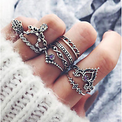 cheap Rings-Women's Knuckle Ring - Alloy Vintage, Fashion One Size Silver For Party Daily / 10pcs