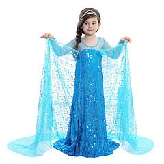 voordelige Halloween cosplay-Prinses Sprookje Elsa Jurken Kinderen Kerstmis Maskerade Verjaardag Festival / Feestdagen Halloweenkostuums Blauw Lovertje Jurken