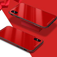 Недорогие Кейсы для iPhone 7 Plus-Кейс для Назначение Apple iPhone X iPhone 8 Защита от удара Зеркальная поверхность Кейс на заднюю панель Сплошной цвет Твердый Закаленное