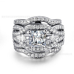 Women's Band Rings Cubic Zirconia Heart Fashion Silver Plated Alloy , Jewelry Gift Valentine