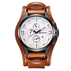 preiswerte Tolle Angebote auf Uhren-CURREN Herrn Armbanduhr Quartz Armbanduhren für den Alltag Cool Großes Ziffernblatt Leder Band Analog Freizeit Modisch Elegant Schwarz / Orange / Braun - Braun Schwarz / Gelb Weiß / Rot