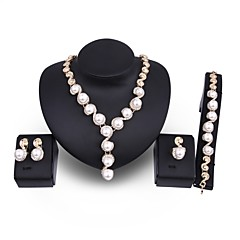 cheap Jewelry Sets-Women's Jewelry Set Imitation Pearl Gold Plated Alloy Circle Oversized Statement Jewelry Wedding Party 1 Necklace 1 Bracelet 1 Ring