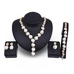 abordables Conjuntos de Joyas-Mujer Juego de Joyas Joyería Destacada De Gran Tamaño Boda Fiesta Perla Artificial Chapado en Oro Legierung Forma de Círculo 1 Collar 1