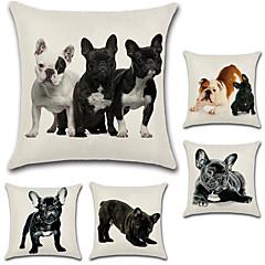 tanie Poduszki-zestaw 5 osobowości 3d buldog francuski wzór poduszka okładka bawełna / pościel pies poszewka na poduszkę kwadratowa sofa poszewka