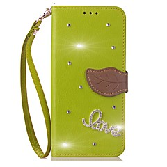 Недорогие Чехлы и кейсы для Galaxy Note Edge-Кейс для Назначение SSamsung Galaxy Note 8 Бумажник для карт Кошелек Стразы со стендом Флип Чехол Сплошной цвет Твердый Кожа PU для Note