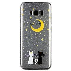 tanie Galaxy S6 Etui / Pokrowce-Kılıf Na Samsung Galaxy S8 S7 Półprzezroczyste Wzór Wytłaczany wzór Lakier Czarne etui Kot Połysk Rysunek Miękkie TPU na S8 S7 S6
