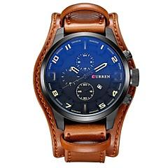 お買い得  大特価腕時計-CURREN 男性用 リストウォッチ 中国 カジュアルウォッチ / クール / 大きめ文字盤 レザー バンド カジュアル / ファッション / エレガント ブラック / オレンジ / ブラウン / Maxell SR626SW