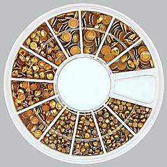 1200pcs karışık boyutlu 3d yuvarlak altın alaşım Çıtçıt tekerlek tırnak sanat dekorasyon