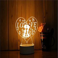 preiswerte Ausgefallene LED-Beleuchtung-1set 3D Nachtlicht Gleichstromversorgung USB angetrieben Abblendbar Farbwechsel