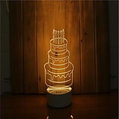 abordables Nouveautés Lampes LED-1 ensemble de 3d humeur nuit lumière main sentiment dimmable usb alimenté cadeau lampe gâteau d'anniversaire