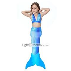 The Little Mermaid Bikini Fürdőruha Gyermek Karácsony Álarcos mulatság Fesztivál / ünnepek Mindszentek napi kösztümök Kék Egyszínű