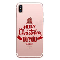 Недорогие Кейсы для iPhone X-Кейс для Назначение Apple iPhone X iPhone 8 Прозрачный С узором Задняя крышка Слова / выражения Рождество Мягкий TPU для iPhone X iPhone