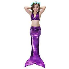 The Little Mermaid 수영복 비키니 키드 크리스마스 가장 무도회 페스티발 / 홀리데이 할로윈 의상 블루 퍼플 솔리드