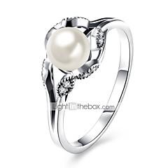 お買い得  指輪-女性用 バンドリング - 純銀製, ジルコン, シルバー クラシック, ベーシック 8 シルバー 用途 日常 / ワーク