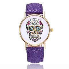 preiswerte Tolle Angebote auf Uhren-Damen Quartz Armbanduhr Chinesisch Totenkopf Armbanduhren für den Alltag PU Band Freizeit Totenkopf Einzigartige kreative Uhr Schwarz