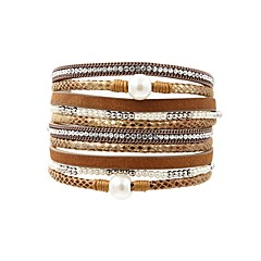 preiswerte Armbänder-Damen Wickelarmbänder Lederarmbänder - Perle, Leder damas, Retro, Modisch, Elegant Armbänder Schmuck Grau / Braun / Grün Für Alltag Ausgehen