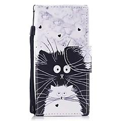 tok Για Sony Xperia XZ1 Xperia XZ1 Compact Πορτοφόλι Θήκη καρτών με βάση στήριξης Ανοιγόμενη Με σχέδια Μαγνητική Πλήρης κάλυψη Γάτα Σκληρή