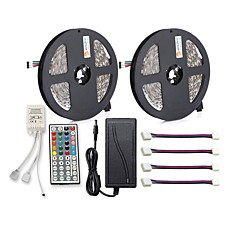 cheap LED Strip Lights-ZDM® 150 LEDs 2x 5M LED Strip Light 1 12V 6A Adapter 1 44Keys Remote Controller 4 Connectors RGB Cuttable Self-adhesive AC100-240
