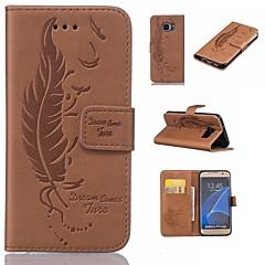 tanie Galaxy S6 Edge Etui / Pokrowce-Kılıf Na Samsung Galaxy S7 edge S7 Etui na karty Portfel Z podpórką Flip Wytłaczany wzór Pióra Twarde na