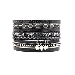 preiswerte Armbänder-Damen Geometrisch Wickelarmbänder - Perle, Leder Retro, Böhmische, Boho Armbänder Schwarz Für Alltag Ausgehen