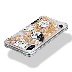 cheap iPhone Cases-Case For Apple iPhone X iPhone 8 Shockproof Flowing Liquid Pattern Back Cover Dog Glitter Shine Soft TPU for iPhone X iPhone 8 Plus