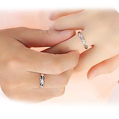 preiswerte Ringe-Paar Eheringe / Bandring - Sterling Silber, Zirkon Liebe Brautkleidung Verstellbar Silber Für Hochzeit / Party / Geschenk