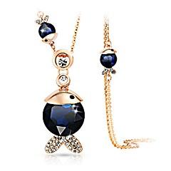 preiswerte Halsketten-Damen Kristall Anhängerketten - Krystall, Diamantimitate Fische Klassisch, Modisch Dunkelblau, Dark Gray Modische Halsketten 1 Für Alltag
