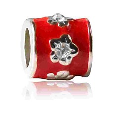 cheap Beads & Jewelry Making-DIY Jewelry 1 pcs Beads Imitation Diamond Alloy Red Cylinder Bead 0.5 cm DIY Necklace Bracelet
