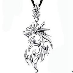 Недорогие Ожерелья-Муж. Ожерелья с подвесками - Кожа Дракон корейский, Хип-хоп Белый, Серебряный Ожерелье Бижутерия 1 Назначение Повседневные