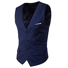 ieftine Blazer & Costume de Bărbați-Bărbați Zilnic Primăvară Scurt Γιλέκο, Mată În V Fără manșon Poliester Stil Clasic Albastru Deschis / Gri Deschis / Bleumarin 4XL / XXXXXL / XXXXXXL