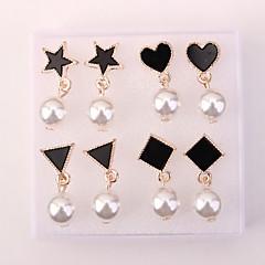 preiswerte Ohrringe-Damen Perle Ohrstecker - Künstliche Perle Herz, Stern Europäisch, Modisch Schwarz Für Alltag