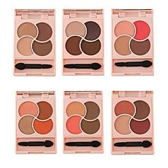 abordables Sombras de Ojos-4 Paleta de Sombras de Ojos Seco Mate Brillo Mineral Paleta de sombra de ojos Polvo Maquillaje Ojos de Gato Maquillaje de Diario