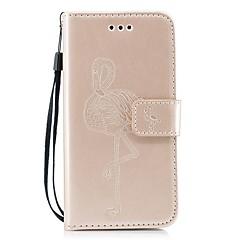 Недорогие Кейсы для iPhone-Кейс для Назначение Apple iPhone X / iPhone 8 Кошелек / Бумажник для карт / со стендом Фламинго Твердый для
