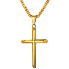Недорогие Ожерелья-Муж. Ожерелья с подвесками - Нержавеющая сталь Крест Золотой, Серебряный Ожерелье 1 Назначение Подарок, Повседневные