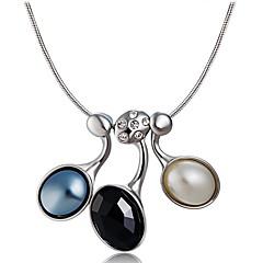 preiswerte Halsketten-Damen Opal / Kubikzirkonia Anhängerketten - versilbert, Diamantimitate Klassisch Schwarz Modische Halsketten Für Party, Formal