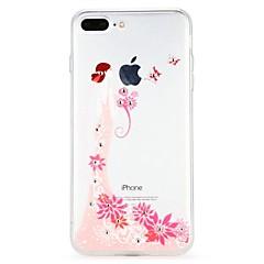 Недорогие Кейсы для iPhone 7 Plus-Кейс для Назначение Apple iPhone 6 iPhone 7 Стразы Рельефный Кейс на заднюю панель Цветы Эйфелева башня Мультипликация Мягкий ТПУ для