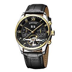 preiswerte Herrenuhren-KINYUED Herrn Automatikaufzug Mechanische Uhr Armbanduhr Totenkopfuhr Kalender Chronograph Wasserdicht Leder Band Luxus Freizeit